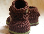 Crochet  Pattern Fringe Baby Booties  - Pattern number 207 Instant Download