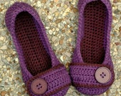 Womens House Slipper Crochet Pattern - Violet- number 205 - Instant Download