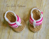 Crochet Pattern for Sporty Flip Flop Baby Sandals - Crochet pattern number 116 - Instant Download
