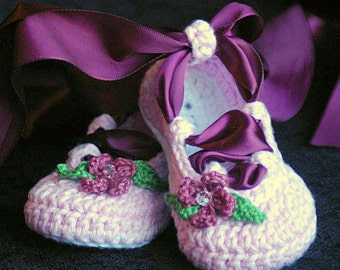 Crochet Pattern Ballerina Baby Booties PDF  - Pattern number 202 Instant Download