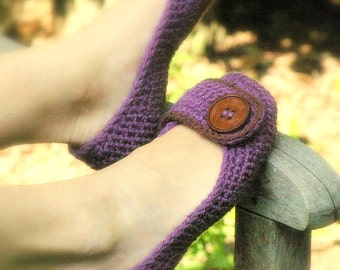 Crochet Pattern for Violet Womens House Slipper PDF - SIX sizes included - Womens 5 - 10 - Pattern number 205 Instant Download  kc550