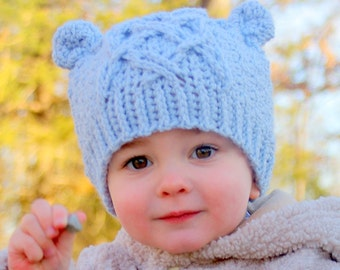 Crochet patterns - Little Bear Cable Hat -  Instant Downlad Crochet Hat PATTERN number 114 - Baby toddler and childrens sizes included L