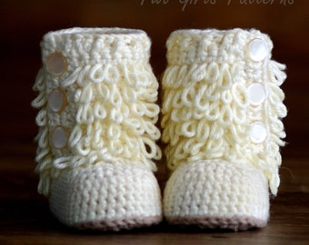 Baby Crochet Boots Pattern - Furrylicious Booties- Loop-de-Boots - Pattern number 200 Instant Download  kc550