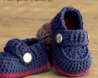Crochet patterns -  Baby Boy Booties - The Sailor - Pattern number 203 Instant Download  kc550