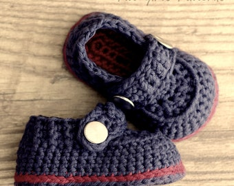 CROCHET PATTERN #203  Baby Boy Booties - The Sailor  -  Instant Download  kc550