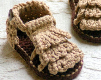Crochet Pattern - Baby Booties Pattern for Baby Moccasin Sandals -  Crochet Pattern 106 - Instant Downloads L