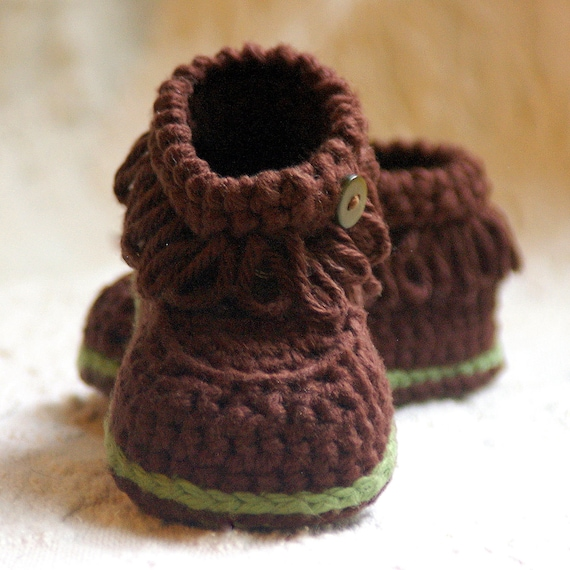 CROCHET PATTERN #207 Baby Fringe Moccasin Boot Booties  -  Instant Download pdf K