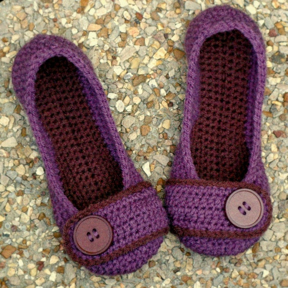 Womens House Slipper Crochet Pattern - Violet- number 205 - Instant Download