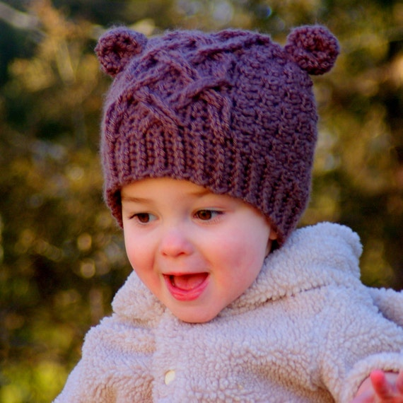 CROCHET PATTERN  - Crochet Pattern - Little Bear Cable Hat - 4 sizes included, baby toddler and childrens sizes - Instant Download PDF L 114