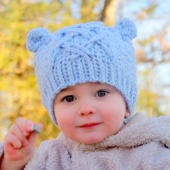 Crochet patterns - Little Bear Cable Hat -  Instant Downlad Crochet Hat PATTERN number 114 - Baby toddler and childrens sizes included