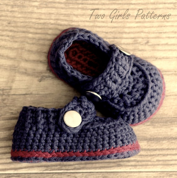 CROCHET PATTERN #203  Baby Boy Booties - The Sailor  -  Instant Download