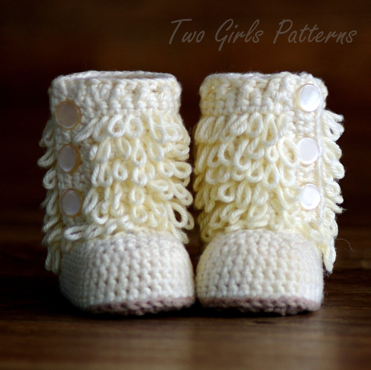 Crochet Patterns To Buy : Baby Crochet Boots Pattern Furrylicious by TwoGirlsPatterns