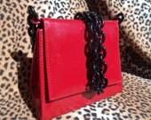 Vintage Red Purse Lucite Black Chain Strap Vinyl Handbag Clutch 1980's Rockabilly Accessories