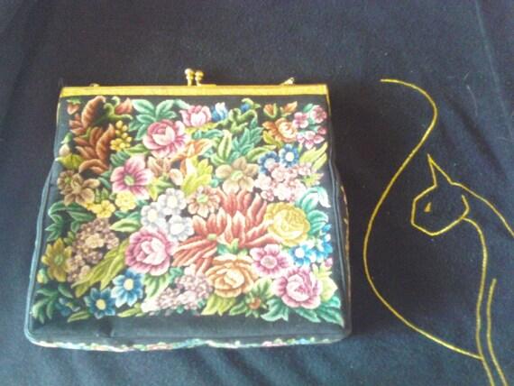 Vintage Retro Clutch 1960's Purse Handbag Flower Motif Collectible Bag