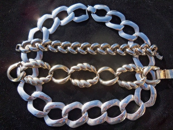 Big Bold Chunky Silver Metal Vintage Chain Link Style Necklace 1960's Rockabilly Mod Jewelry