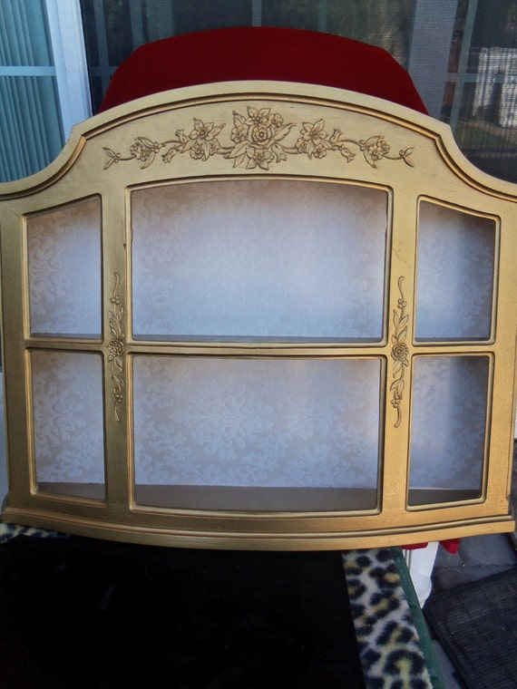 Shabby Chic Collectible Vintage Display Case Wall Shelving