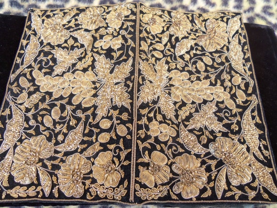 Black Velvet Clutch Vintage Ornate Gold Design Signed Lewis Made in India 1960's 1970's
