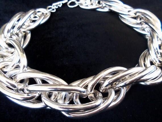 Big Bold 1980's Chunky Wide Silvertone Metal Necklace Rocker Rockabilly Mod Goth Jewelry