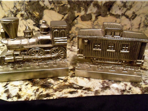 Collectible Train Bookends Vintage Home Decor by