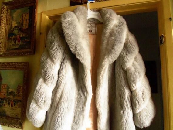 Rockabilly Faux Fur Coat 1950's Womens Jacket Retro Mad Men Mod Vintage Accessories Size 14 Marilyn Monroe Black Friday Cyber Monday Sale
