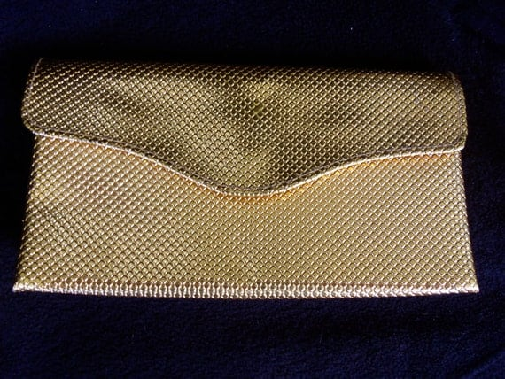 1940's 1960's Clutch Shiny Gold Handbag Bag Purse Mad Men Mod Rockabilly Accessories Mid Century Modern