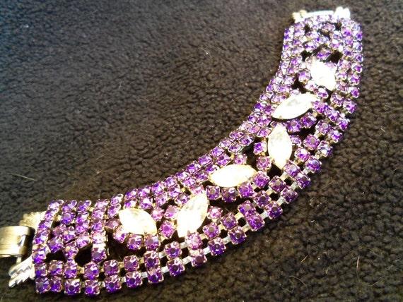 Vintage Purple Rhinestone Bracelet 1950's Collectible Mad Men Mod Black Tie Formal Retro Rockabillly Hollywood Regency Jewelry