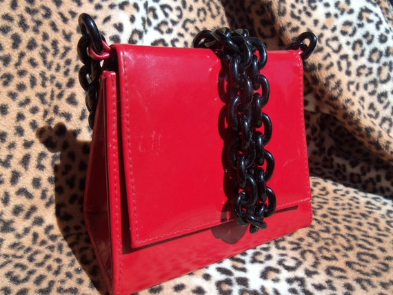 Vintage Red Purse Lucite Black Chain Strap Vinyl Handbag Clutch 1980's Rockabilly Accessories