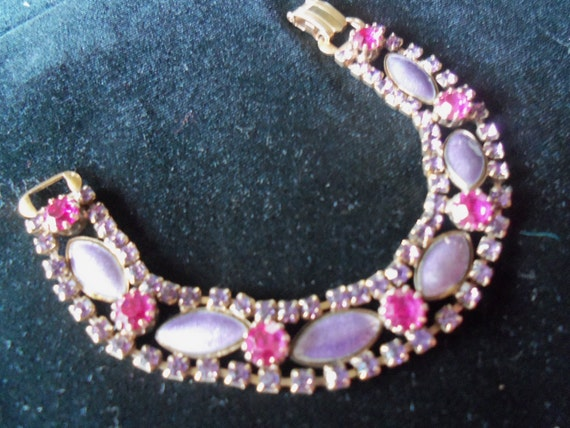 Vintage Purple Pink Rhinestone Bracelet 1950's Collectible Costume Jewelry Mad Men Mod Hollywood Regency Rockabilly Accessories
