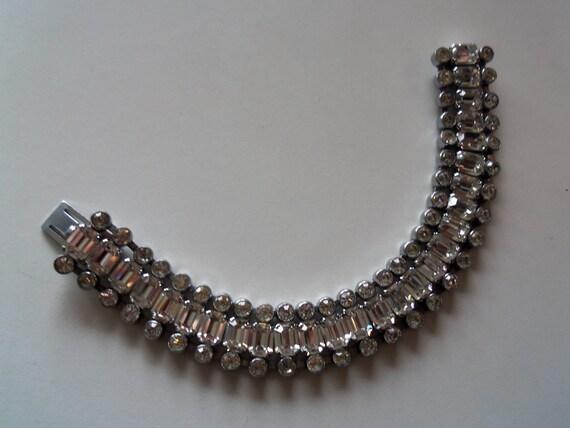 Vintage Rhinestone Bracelet 1950's Mad Men Mod Rockabilly Hollywood Regency Black Tie Formal Art Deco Era Jewelry