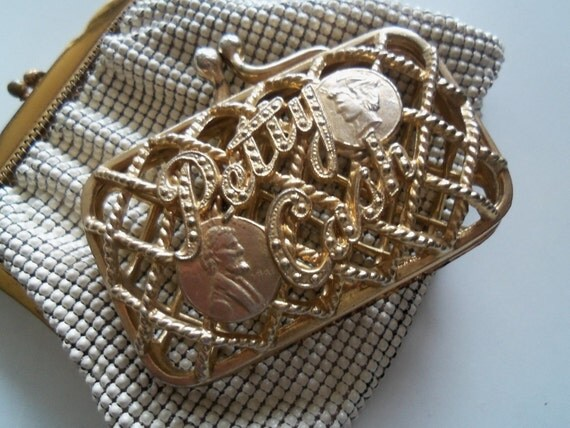 Vintage Coin Purse Petty Cash Collectible Metal Change Purse 1950's Hollywood Regency Mad Men Mod