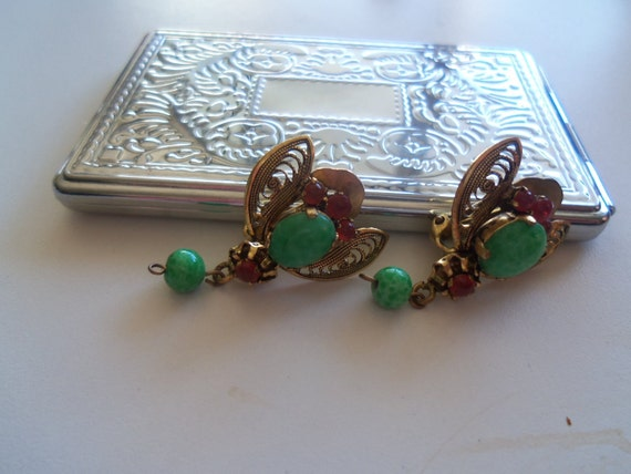Vintage Earrings Green & Red Stones 1940's 1950's Collectible Jewelry Mad Men Mod Mid Century Rockabilly Bee Bug Like