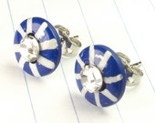 blue studs - blue earrings - blue jewelry - blue and white - nautical earrings - nautical studs - stripes - crystal