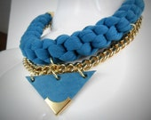 Jersey turquoise crochet necklace