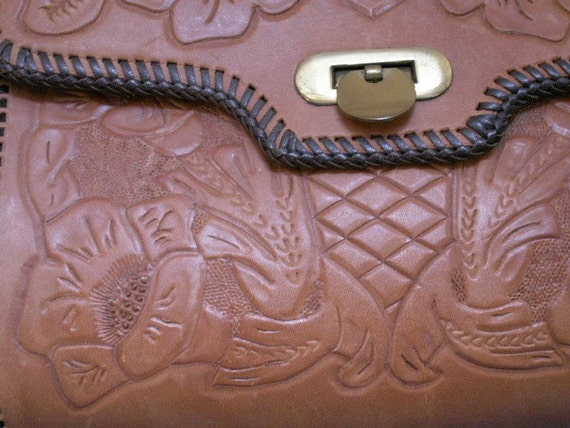 Hand Tooled LEATHER PURSE Flowers Bag