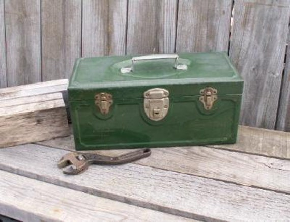 Vintage Industrial Tool Box MASTER Metal Products Green - Treasury Item