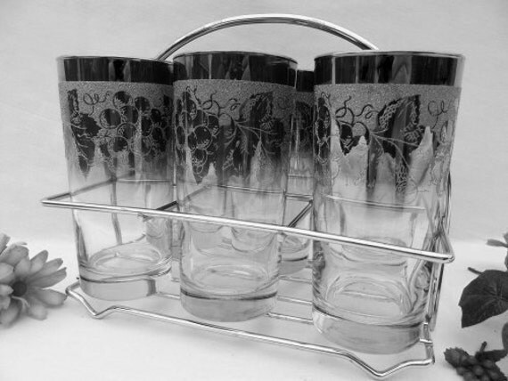 Mad Men Silver Ombre Glasses Mid Century in Chrome Holder - Treasury Item