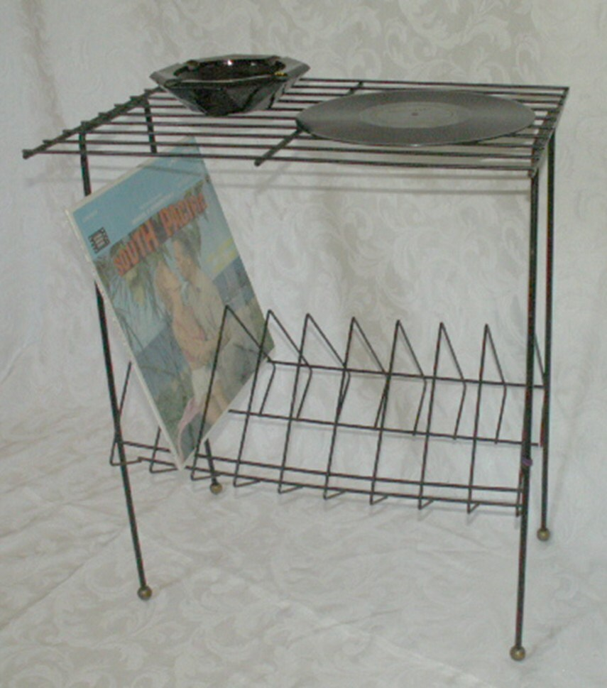 Vintage Record Player Table Stand Black With By OldMillVintage