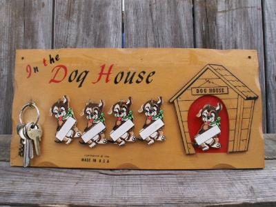 Vintage  S In The Dog House Family Wood Wall Plaque