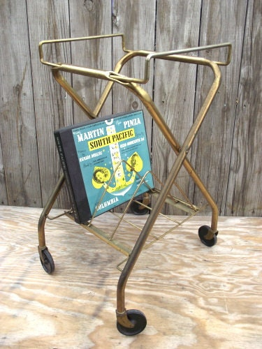 Vintage Record Player Tv Cart Stand Mid Century Brass Metal