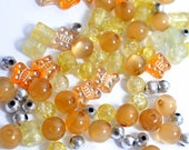 50 Plus Pieces Loose Vintage Beads Butterfly Sunshine MIx