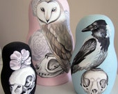 """Birds, Skulls and Flowers """"The Brutal Dance"""" painted wooden nesting dolls"""
