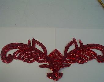 Red Sequin V-Plume Applique