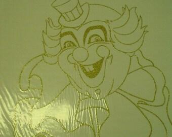 Gold Glitter Clown Iron On Transfer