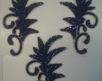 Navy/Dark Sapphire Sequin and Bead Plume Appliques