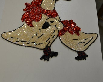 Geese (Duck) Multi Colored Sequin & Bead Applique
