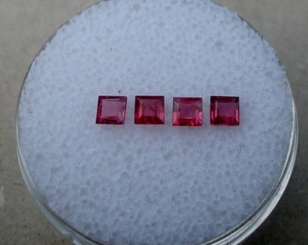 4 Ruby Square Natural Gems 2.8mm each