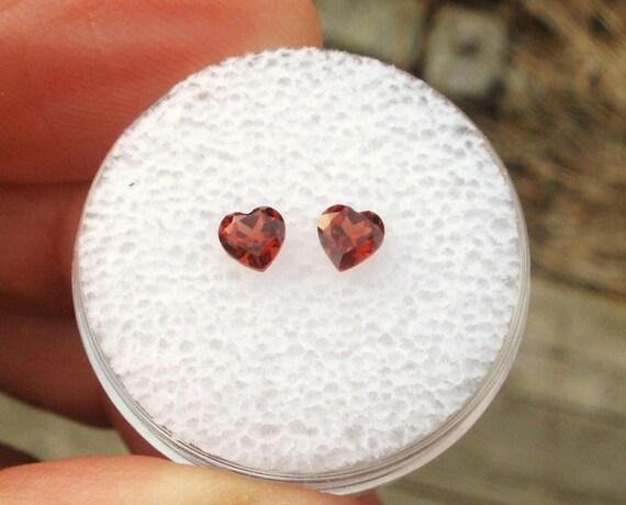AAA Rated Loose Natural Garnet Heart Gem Pair 4MM each