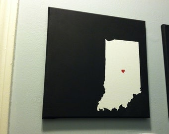 "Indiana Love Painting - 12x12"" canvas - Customized and hand painted"