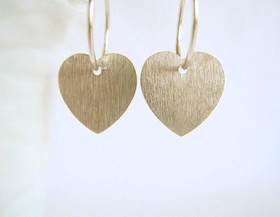 Silver heart earrings Small Hoops Brushed Sterling Minimalist Modern