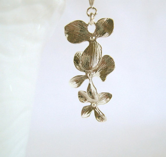 Orchid necklace Flower Cascade Silver